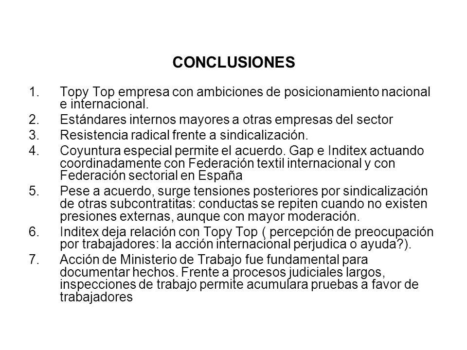 1.Topy Top empresa con ambiciones de posicionamiento nacional e internacional. 2.Estándares internos mayores a otras empresas del sector 3.Resistencia
