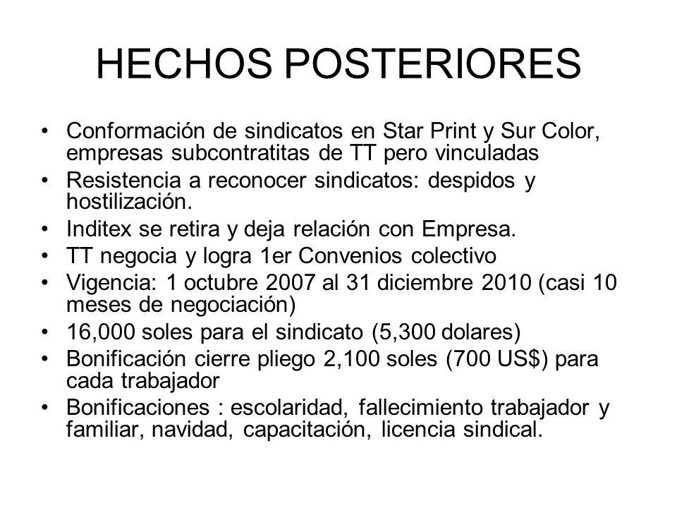 HECHOS POSTERIORES Conformación de sindicatos en Star Print y Sur Color, empresas subcontratitas de TT pero vinculadas Resistencia a reconocer sindica