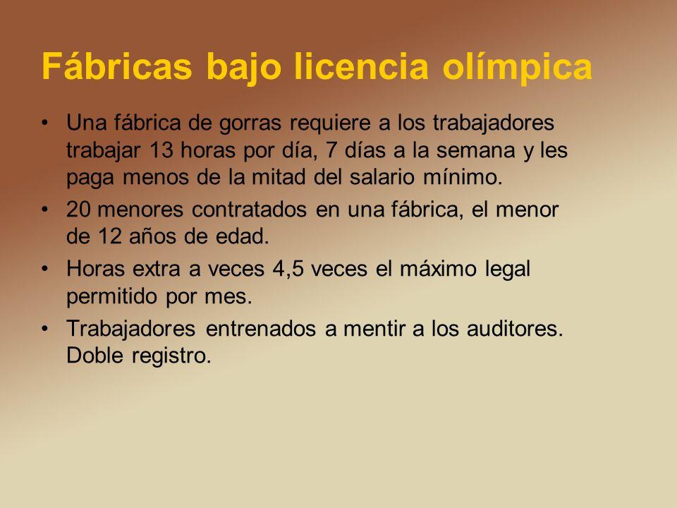 Fábricas bajo licencia olímpica Una fábrica de gorras requiere a los trabajadores trabajar 13 horas por día, 7 días a la semana y les paga menos de la mitad del salario mínimo.