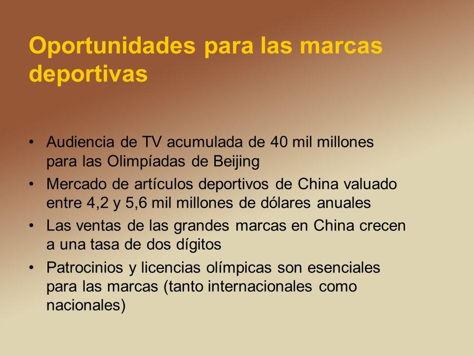 Oportunidades para las marcas deportivas Audiencia de TV acumulada de 40 mil millones para las Olimpíadas de Beijing Mercado de artículos deportivos de China valuado entre 4,2 y 5,6 mil millones de dólares anuales Las ventas de las grandes marcas en China crecen a una tasa de dos dígitos Patrocinios y licencias olímpicas son esenciales para las marcas (tanto internacionales como nacionales)