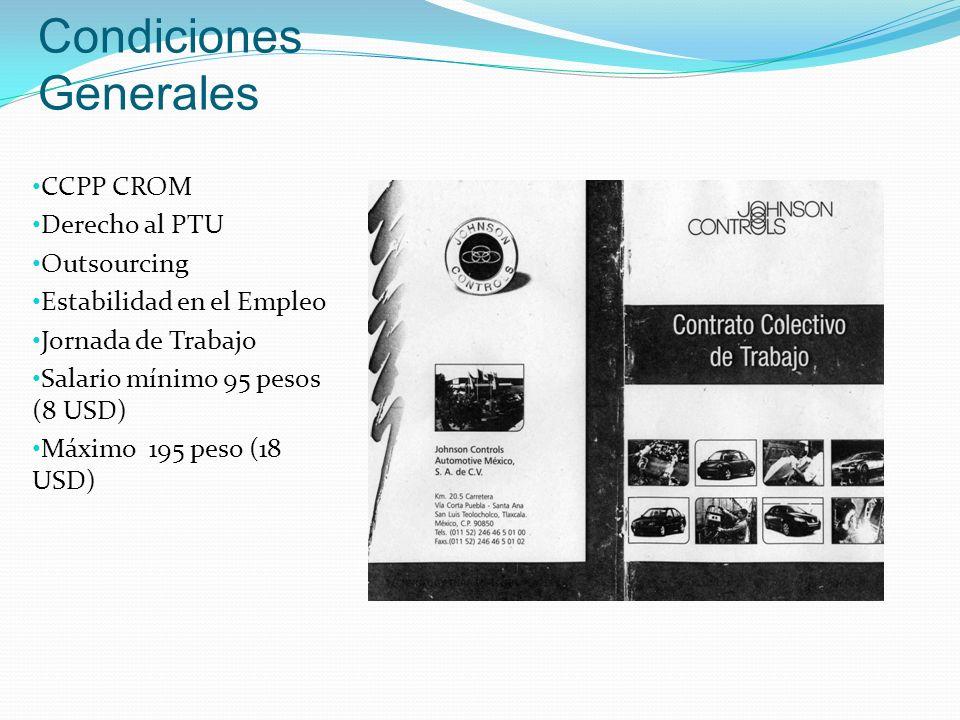Condiciones Generales CCPP CROM Derecho al PTU Outsourcing Estabilidad en el Empleo Jornada de Trabajo Salario mínimo 95 pesos (8 USD) Máximo 195 peso (18 USD)