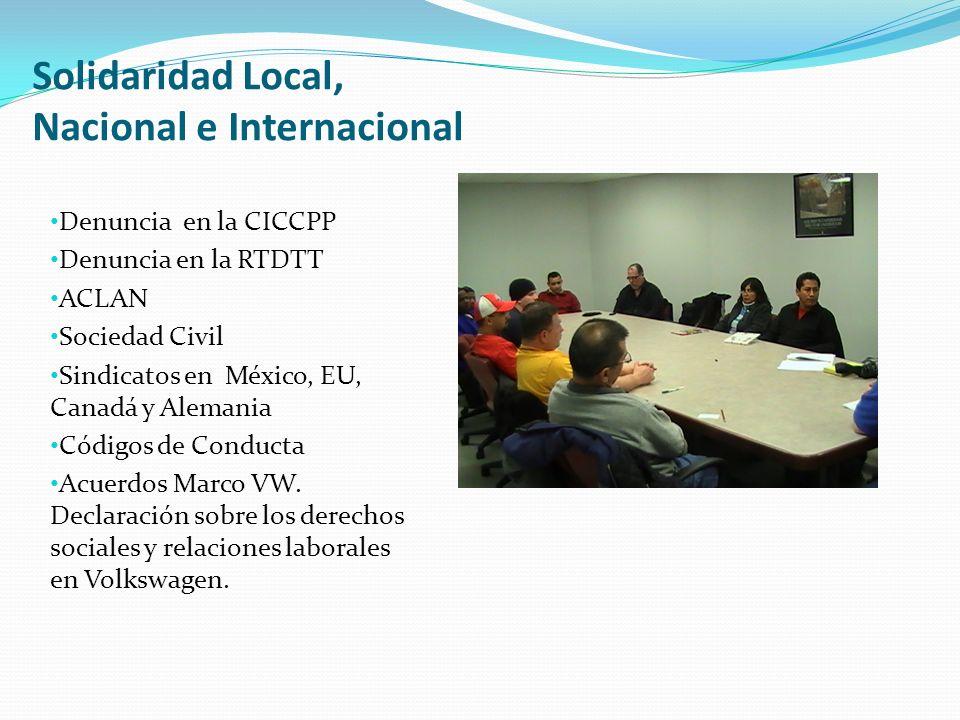 Solidaridad Local, Nacional e Internacional Denuncia en la CICCPP Denuncia en la RTDTT ACLAN Sociedad Civil Sindicatos en México, EU, Canadá y Alemania Códigos de Conducta Acuerdos Marco VW.