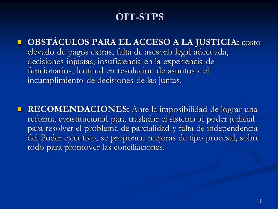 11 OIT-STPS OBSTÁCULOS PARA EL ACCESO A LA JUSTICIA: costo elevado de pagos extras, falta de asesoría legal adecuada, decisiones injustas, insuficienc