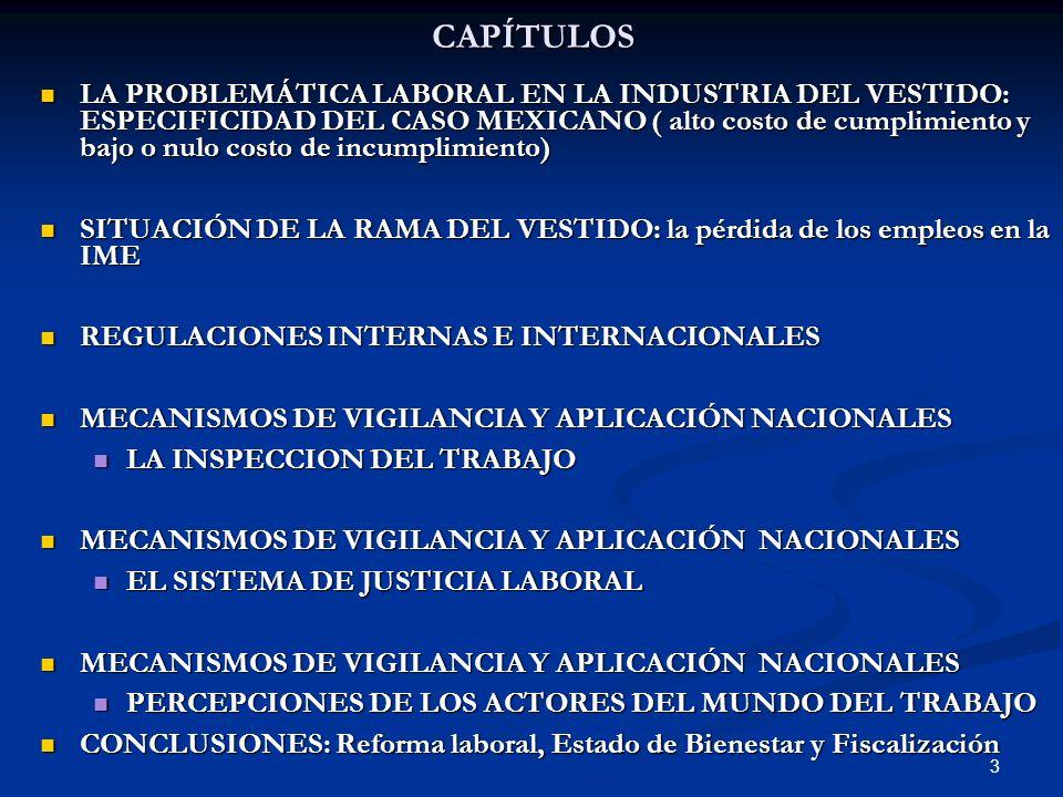 3CAPÍTULOS LA PROBLEMÁTICA LABORAL EN LA INDUSTRIA DEL VESTIDO: ESPECIFICIDAD DEL CASO MEXICANO ( alto costo de cumplimiento y bajo o nulo costo de in