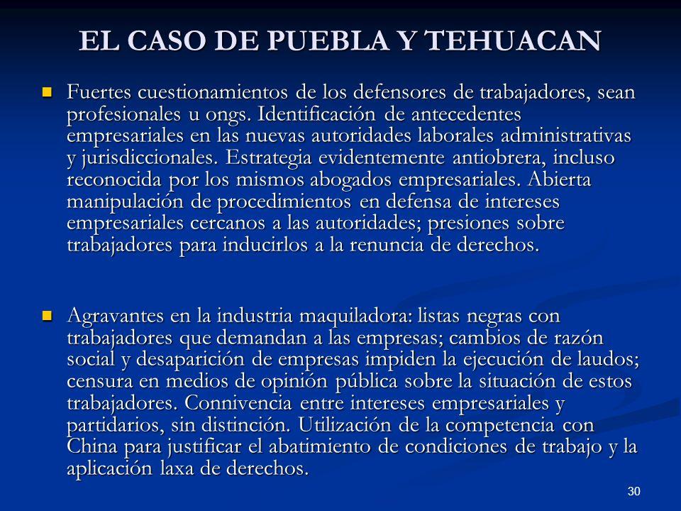 30 EL CASO DE PUEBLA Y TEHUACAN Fuertes cuestionamientos de los defensores de trabajadores, sean profesionales u ongs. Identificación de antecedentes