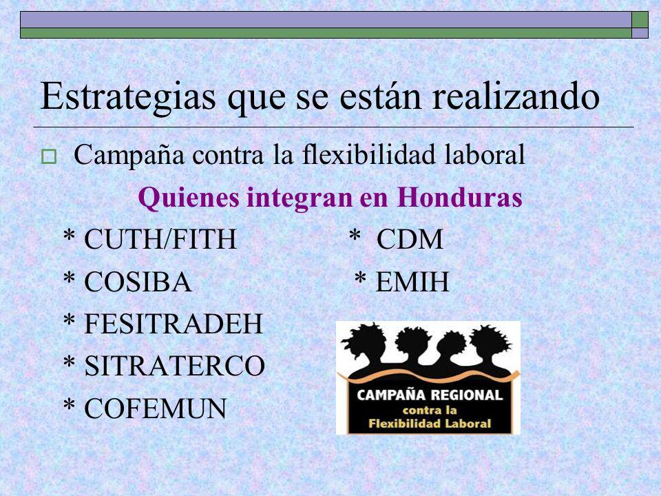 Estrategias que se están realizando Campaña contra la flexibilidad laboral Quienes integran en Honduras * CUTH/FITH * CDM * COSIBA * EMIH * FESITRADEH