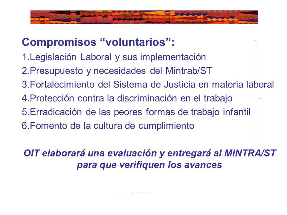 Compromisos voluntarios: 1.Legislación Laboral y sus implementación 2.Presupuesto y necesidades del Mintrab/ST 3.Fortalecimiento del Sistema de Justic