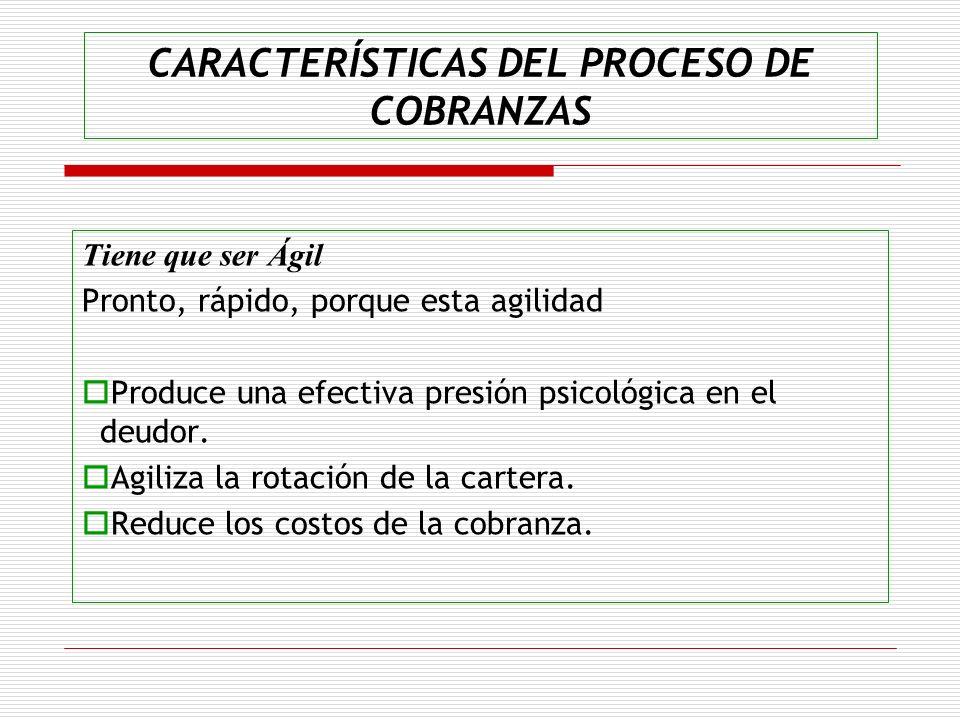 CARACTERÍSTICAS DEL PROCESO DE COBRANZAS Tiene que ser Ágil Pronto, rápido, porque esta agilidad Produce una efectiva presión psicológica en el deudor