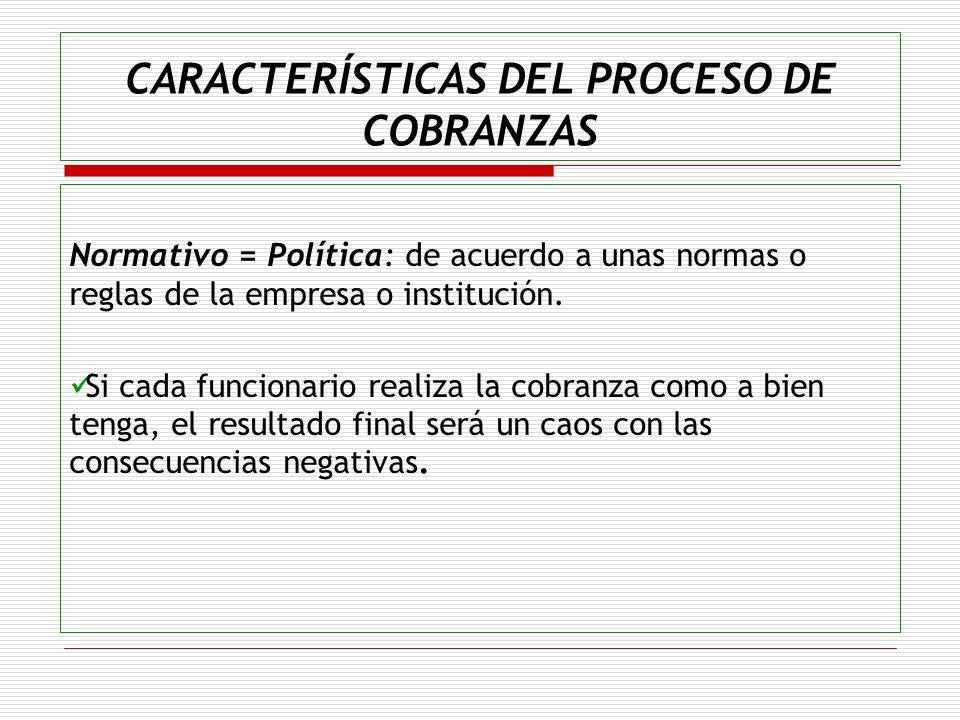 CARACTERÍSTICAS DEL PROCESO DE COBRANZAS Normativo = Política: de acuerdo a unas normas o reglas de la empresa o institución. Si cada funcionario real