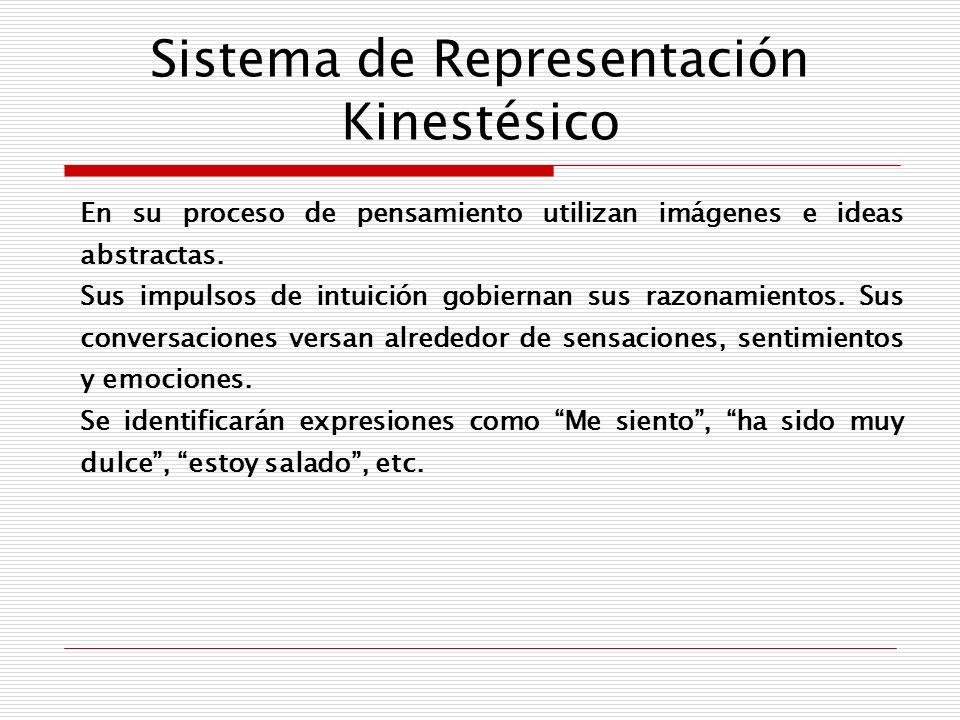 Sistema de Representación Kinestésico En su proceso de pensamiento utilizan imágenes e ideas abstractas. Sus impulsos de intuición gobiernan sus razon