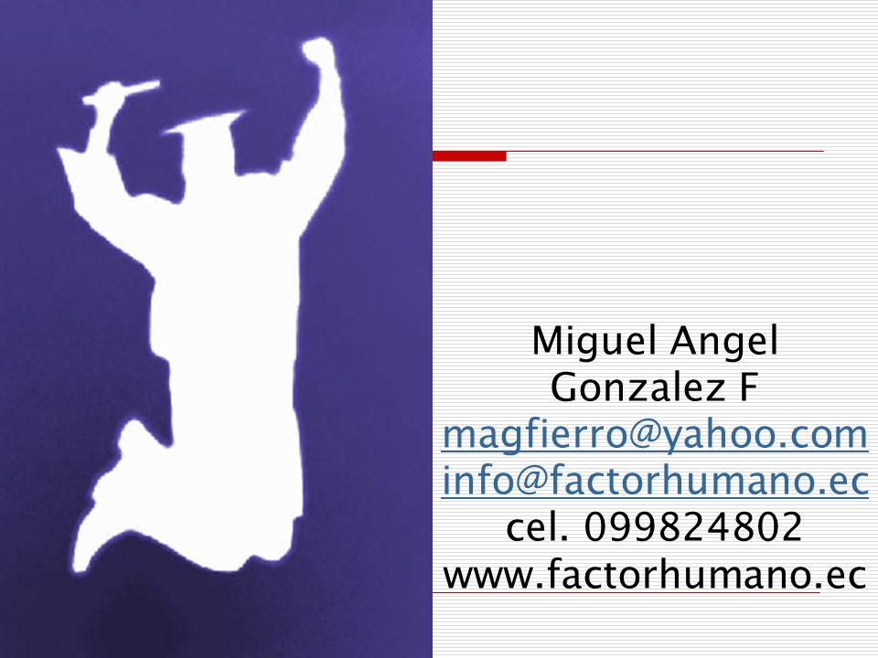 Miguel Angel Gonzalez F magfierro@yahoo.com info@factorhumano.ec cel. 099824802 www.factorhumano.ec magfierro@yahoo.com info@factorhumano.ec
