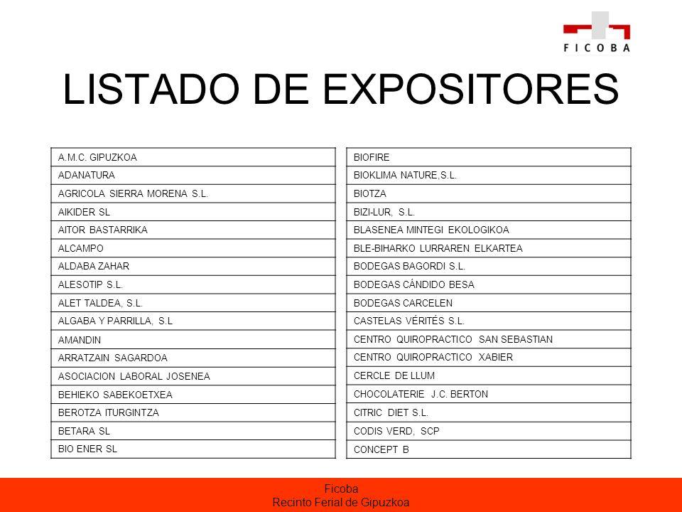 Ficoba Recinto Ferial de Gipuzkoa LISTADO DE EXPOSITORES A.M.C.