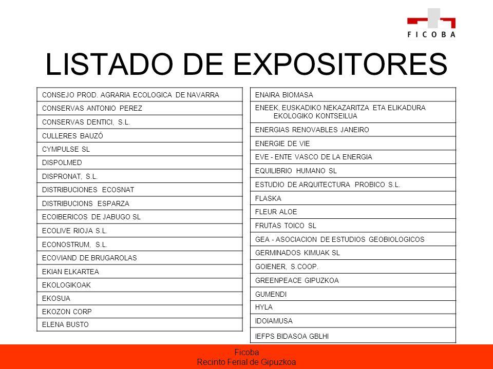 Ficoba Recinto Ferial de Gipuzkoa LISTADO DE EXPOSITORES CONSEJO PROD.