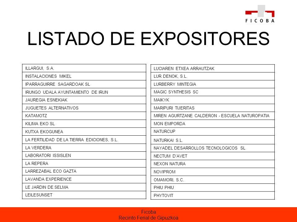 Ficoba Recinto Ferial de Gipuzkoa LISTADO DE EXPOSITORES ILLARGUI, S.A.