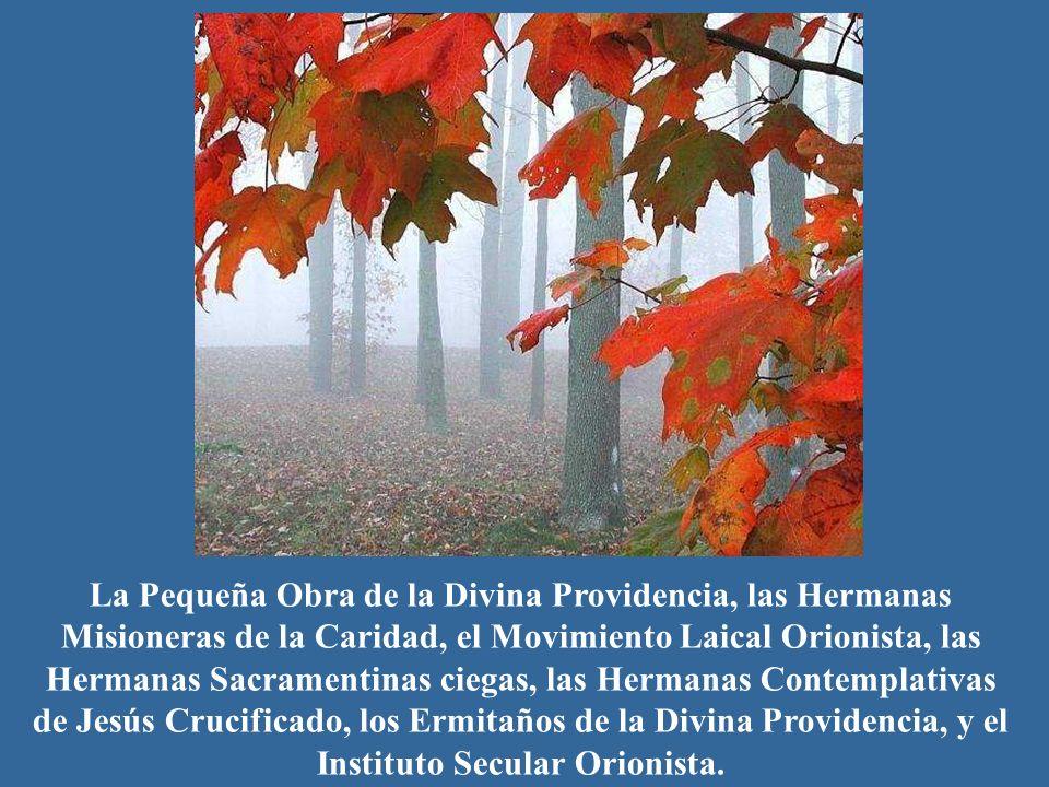 La Pequeña Obra de la Divina Providencia, las Hermanas Misioneras de la Caridad, el Movimiento Laical Orionista, las Hermanas Sacramentinas ciegas, la