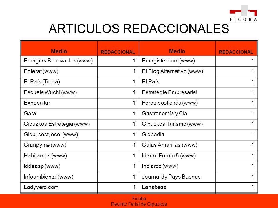 Ficoba Recinto Ferial de Gipuzkoa ARTICULOS REDACCIONALES Medio REDACCIONAL Medio REDACCIONAL Energías Renovables (www)1Emagister.com (www)1 Enterat (