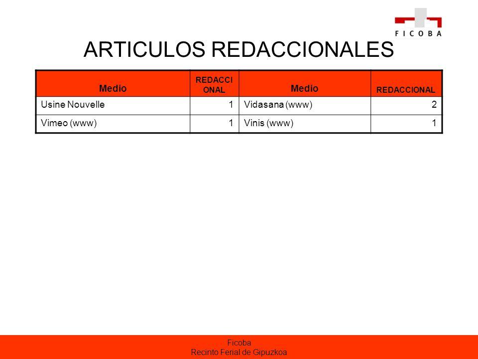 Ficoba Recinto Ferial de Gipuzkoa ARTICULOS REDACCIONALES Medio REDACCI ONAL Medio REDACCIONAL Usine Nouvelle1Vidasana (www)2 Vimeo (www)1Vinis (www)1