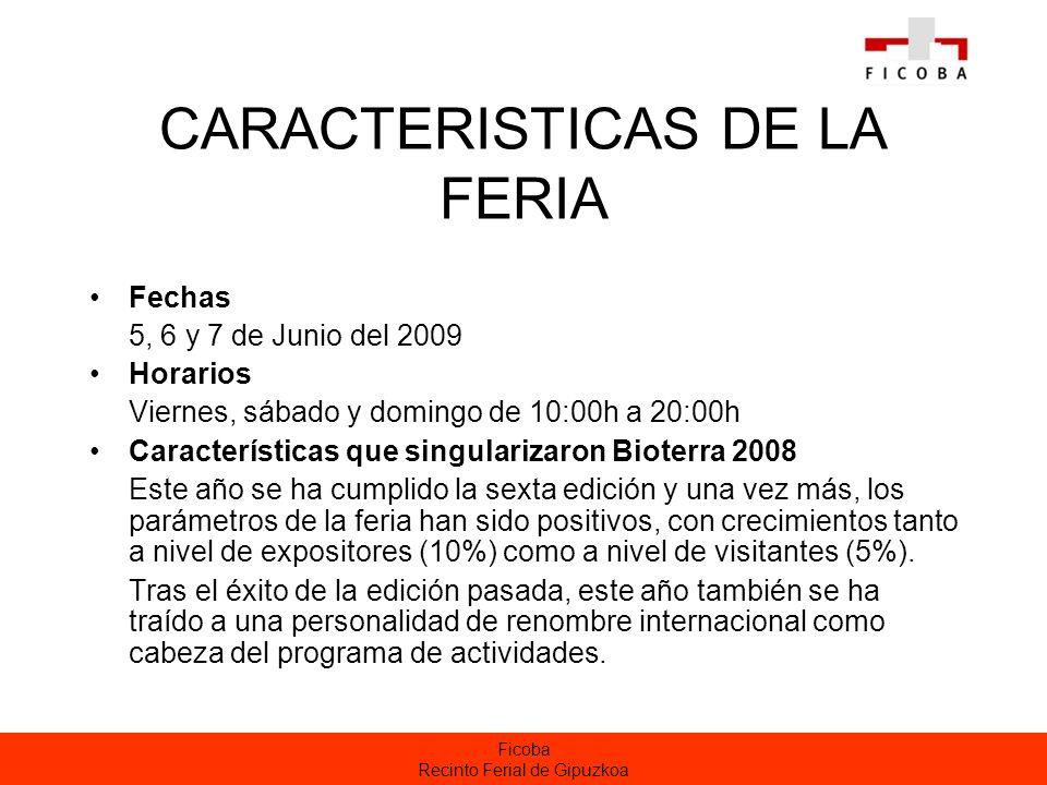 Ficoba Recinto Ferial de Gipuzkoa CARACTERISTICAS DE LA FERIA Fechas 5, 6 y 7 de Junio del 2009 Horarios Viernes, sábado y domingo de 10:00h a 20:00h