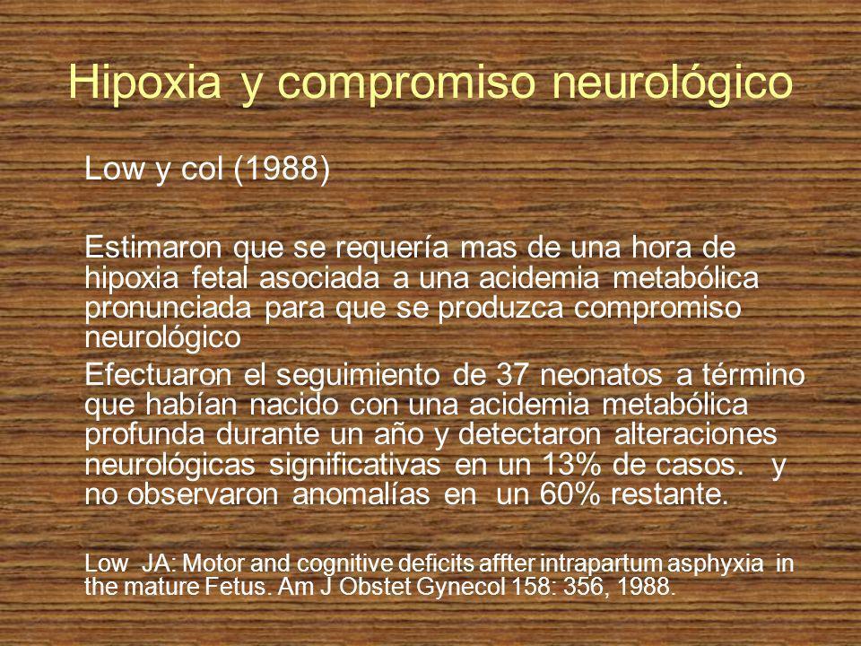 Hipoxia y compromiso neurológico Low y col (1988) Estimaron que se requería mas de una hora de hipoxia fetal asociada a una acidemia metabólica pronun