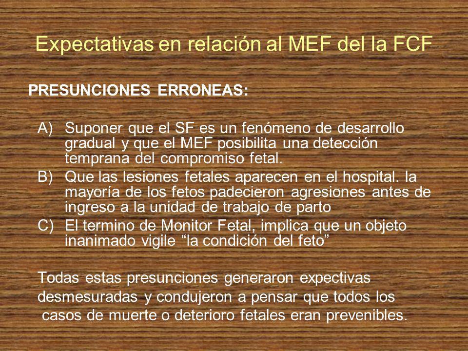 Expectativas en relación al MEF del la FCF PRESUNCIONES ERRONEAS: A)Suponer que el SF es un fenómeno de desarrollo gradual y que el MEF posibilita una