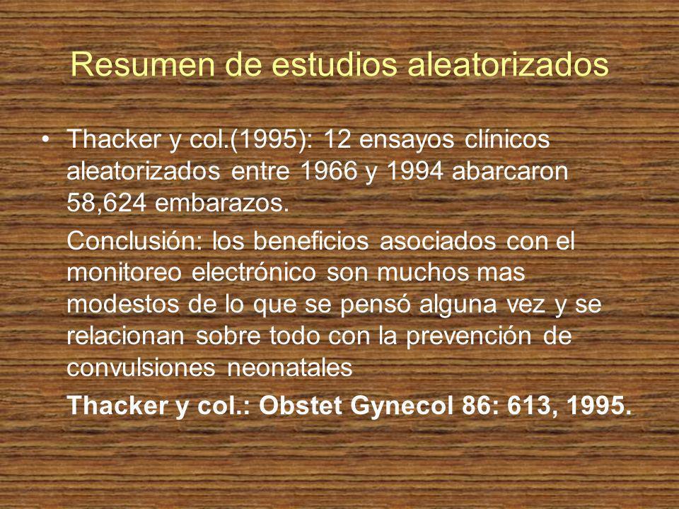Resumen de estudios aleatorizados Thacker y col.(1995): 12 ensayos clínicos aleatorizados entre 1966 y 1994 abarcaron 58,624 embarazos. Conclusión: lo