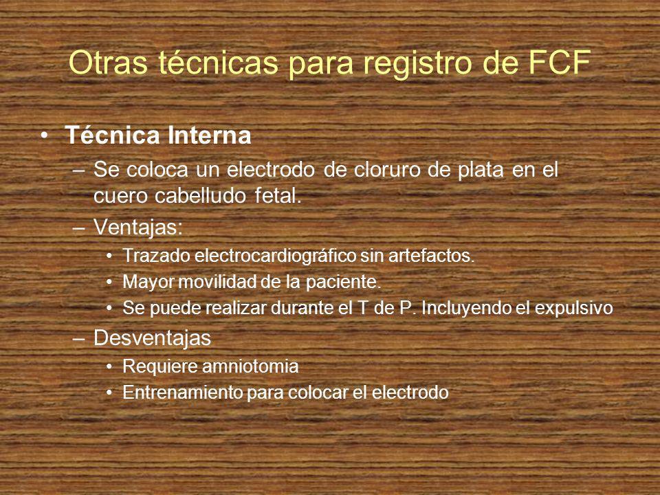 Otras técnicas para registro de FCF Técnica Interna –Se coloca un electrodo de cloruro de plata en el cuero cabelludo fetal. –Ventajas: Trazado electr