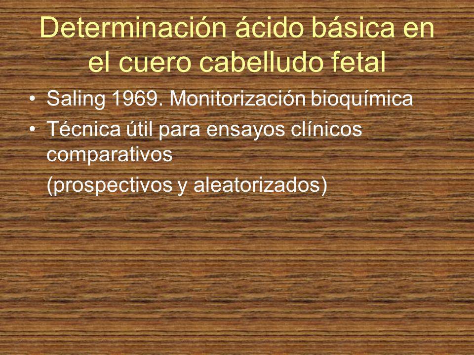 Determinación ácido básica en el cuero cabelludo fetal Saling 1969. Monitorización bioquímica Técnica útil para ensayos clínicos comparativos (prospec