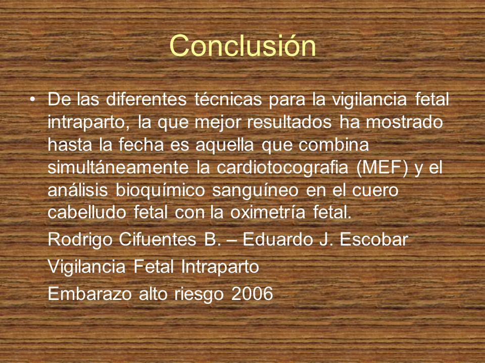 Conclusión De las diferentes técnicas para la vigilancia fetal intraparto, la que mejor resultados ha mostrado hasta la fecha es aquella que combina s