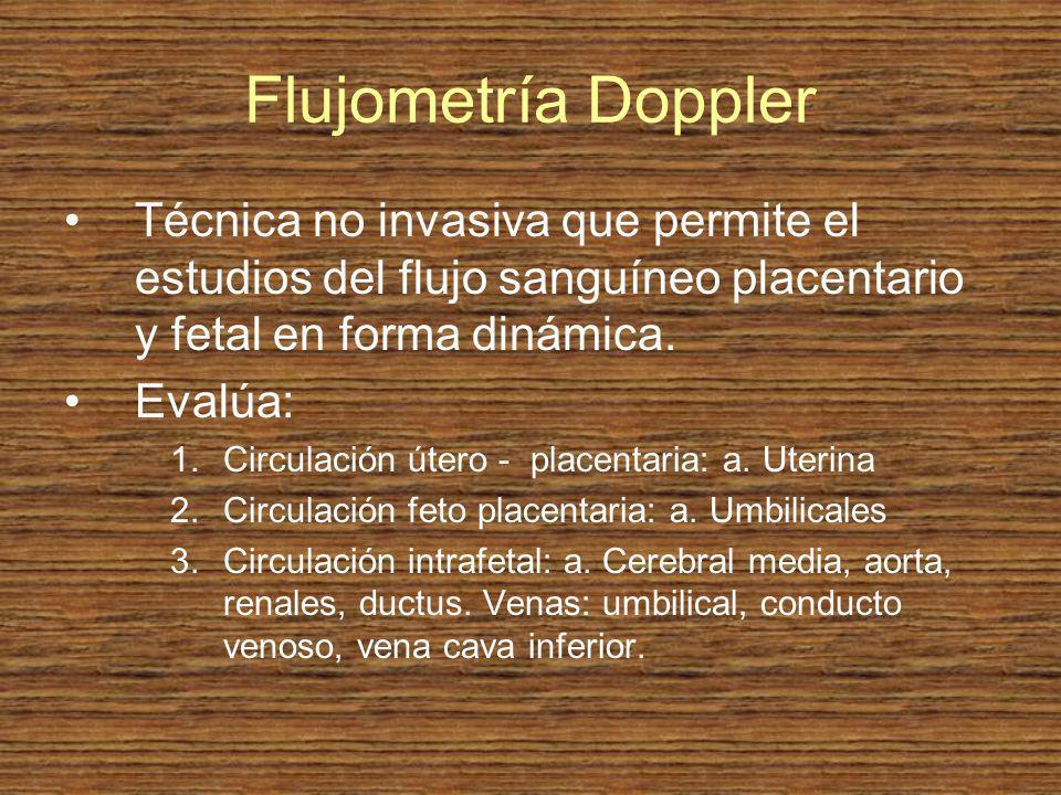 Flujometría Doppler Técnica no invasiva que permite el estudios del flujo sanguíneo placentario y fetal en forma dinámica. Evalúa: 1.Circulación útero
