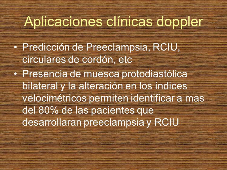 Aplicaciones clínicas doppler Predicción de Preeclampsia, RCIU, circulares de cordón, etc Presencia de muesca protodiastólica bilateral y la alteració