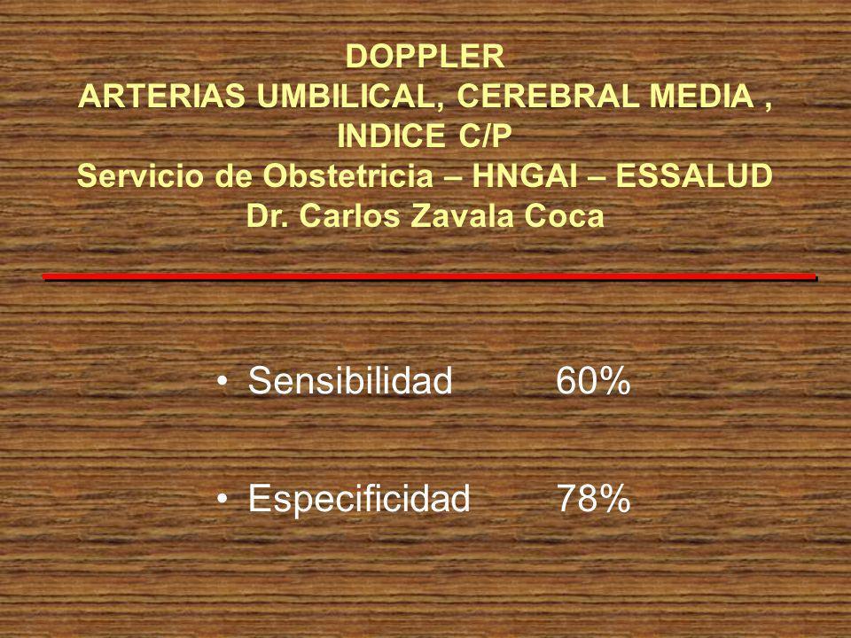 Sensibilidad 60% Especificidad78% DOPPLER ARTERIAS UMBILICAL, CEREBRAL MEDIA, INDICE C/P Servicio de Obstetricia – HNGAI – ESSALUD Dr. Carlos Zavala C