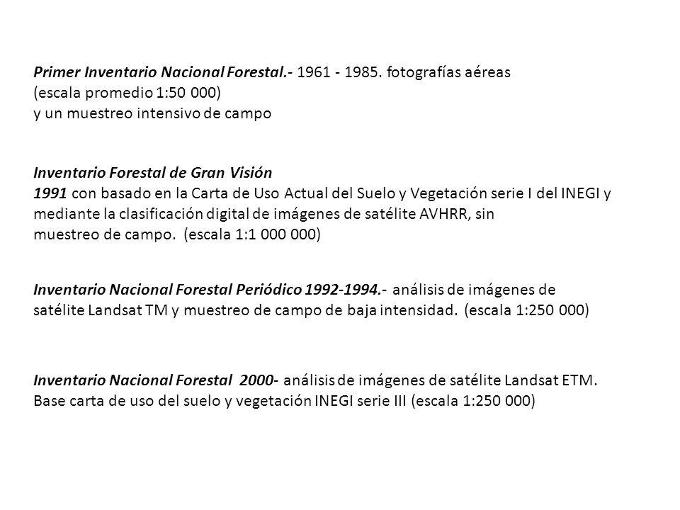 Primer Inventario Nacional Forestal.- 1961 - 1985. fotografías aéreas (escala promedio 1:50 000) y un muestreo intensivo de campo Inventario Forestal