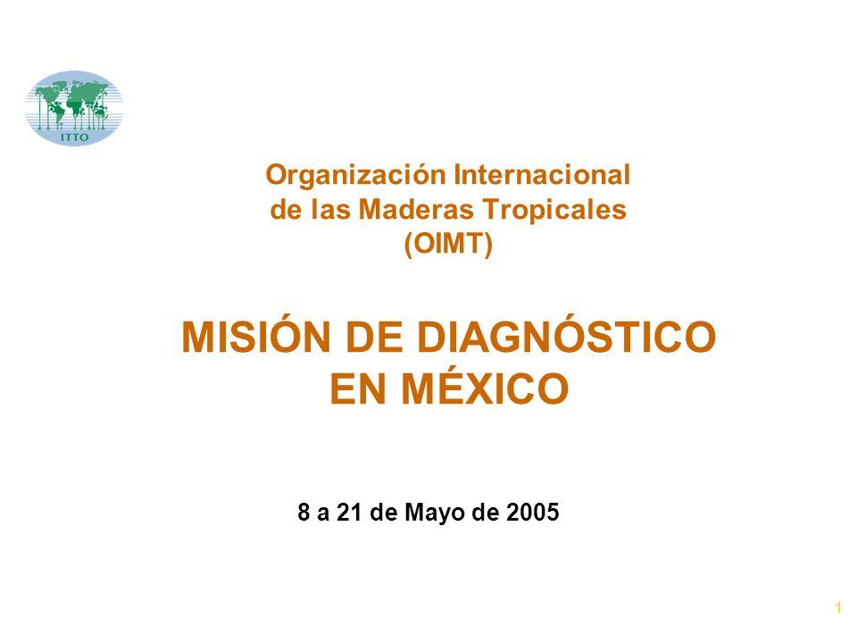 1 Organización Internacional de las Maderas Tropicales (OIMT) MISIÓN DE DIAGNÓSTICO EN MÉXICO 8 a 21 de Mayo de 2005