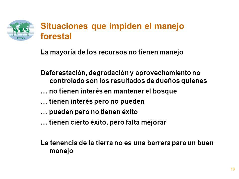 13 Situaciones que impiden el manejo forestal La mayoría de los recursos no tienen manejo Deforestación, degradación y aprovechamiento no controlado s