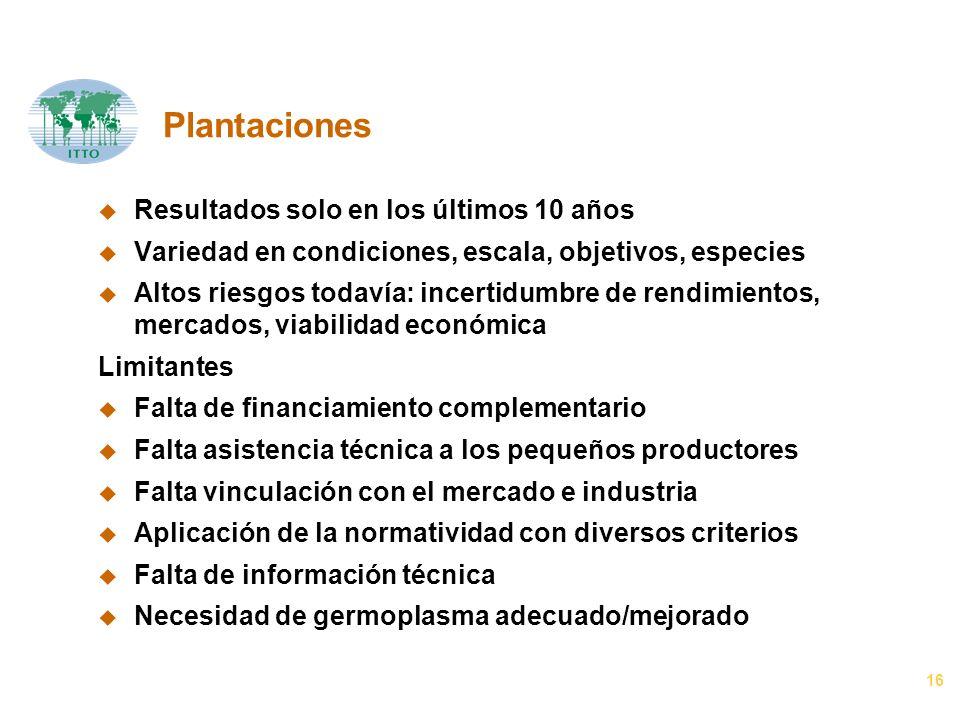 16 Plantaciones u Resultados solo en los últimos 10 años u Variedad en condiciones, escala, objetivos, especies u Altos riesgos todavía: incertidumbre