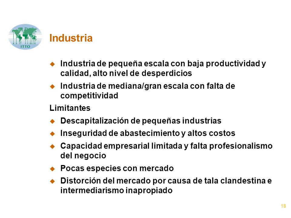 18 Industria u Industria de pequeña escala con baja productividad y calidad, alto nivel de desperdicios u Industria de mediana/gran escala con falta d