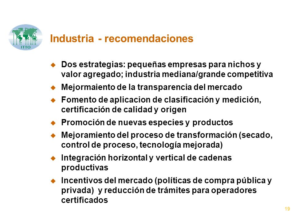 19 Industria - recomendaciones u Dos estrategias: pequeñas empresas para nichos y valor agregado; industria mediana/grande competitiva u Mejormaiento