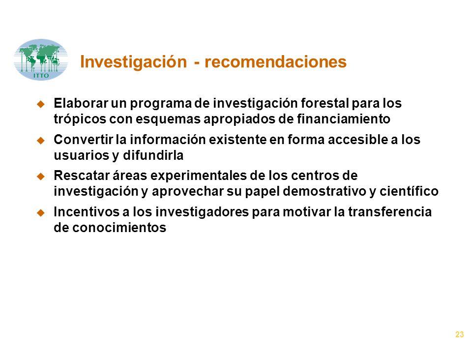 23 Investigación - recomendaciones u Elaborar un programa de investigación forestal para los trópicos con esquemas apropiados de financiamiento u Conv