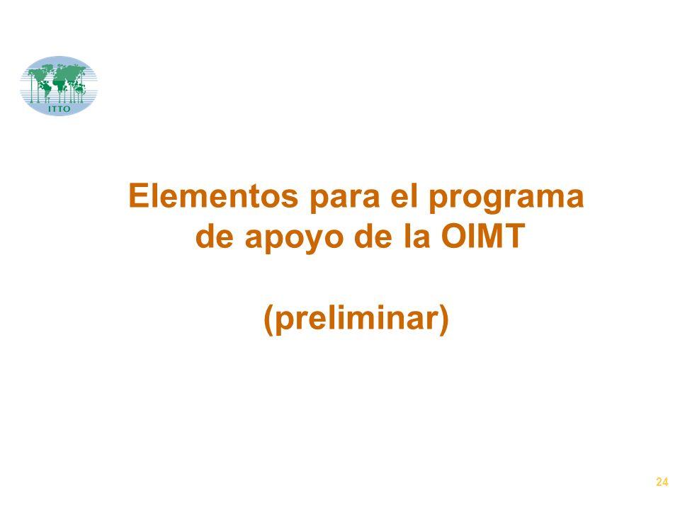 24 Elementos para el programa de apoyo de la OIMT (preliminar)