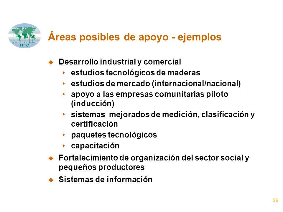 26 Áreas posibles de apoyo - ejemplos u Desarrollo industrial y comercial estudios tecnológicos de maderas estudios de mercado (internacional/nacional