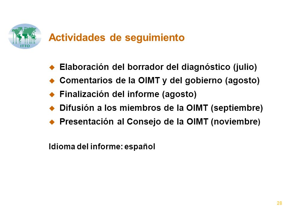 28 Actividades de seguimiento u Elaboración del borrador del diagnóstico (julio) u Comentarios de la OIMT y del gobierno (agosto) u Finalización del informe (agosto) u Difusión a los miembros de la OIMT (septiembre) u Presentación al Consejo de la OIMT (noviembre ) Idioma del informe: español