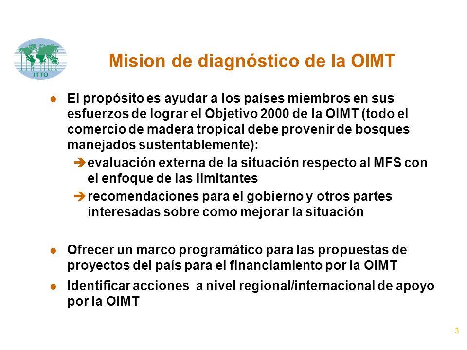 3 Mision de diagnóstico de la OIMT l El propósito es ayudar a los países miembros en sus esfuerzos de lograr el Objetivo 2000 de la OIMT (todo el come