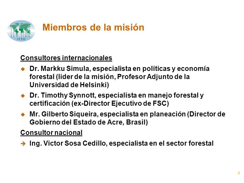 4 Miembros de la misión Consultores internacionales u Dr. Markku Simula, especialista en políticas y economía forestal (lider de la misión, Profesor A