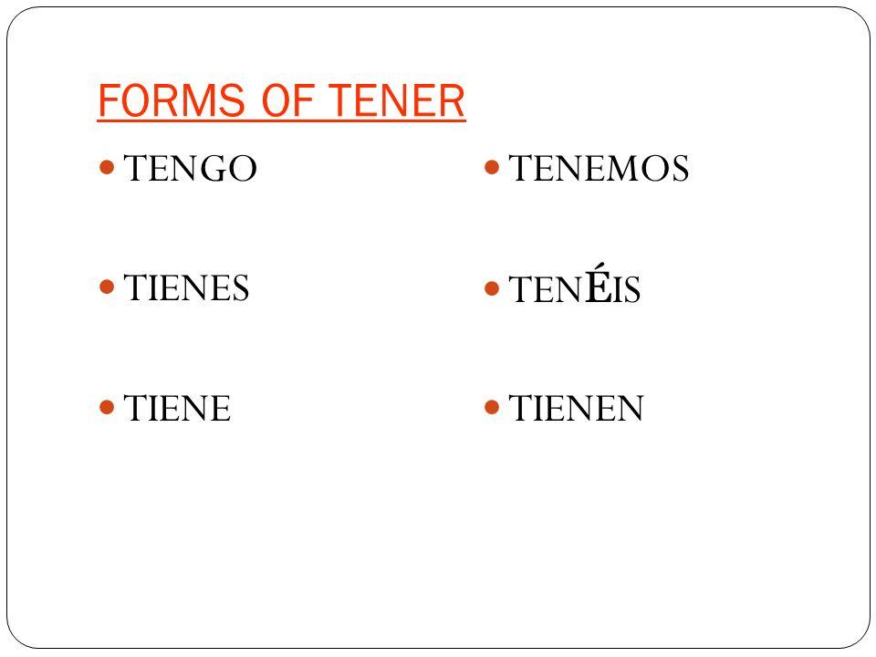 FORMS OF TENER TENGO TIENES TIENE TENEMOS TEN É IS TIENEN