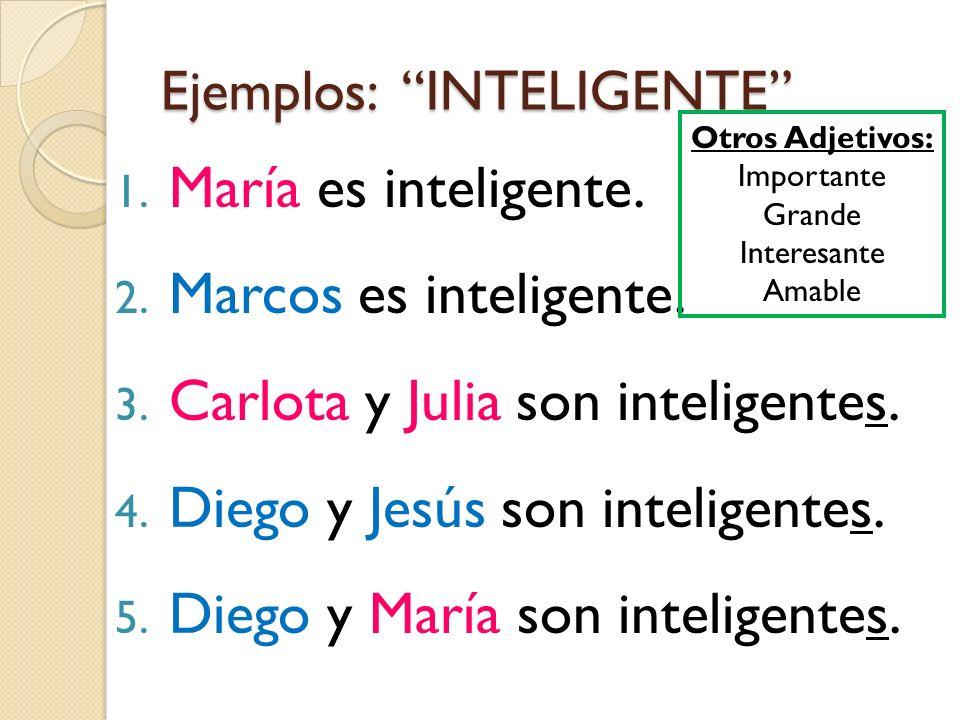Ejemplos: INTELIGENTE 1. María es inteligente. 2. Marcos es inteligente. 3. Carlota y Julia son inteligentes. 4. Diego y Jesús son inteligentes. 5. Di