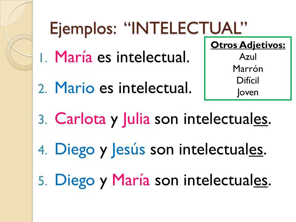 Ejemplos: INTELECTUAL 1. María es intelectual. 2. Mario es intelectual. 3. Carlota y Julia son intelectuales. 4. Diego y Jesús son intelectuales. 5. D