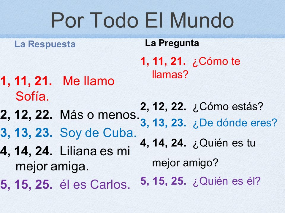 Por Todo El Mundo La Respuesta 1, 11, 21. Me llamo Sofía. 2, 12, 22. Más o menos. 3, 13, 23. Soy de Cuba. 4, 14, 24. Liliana es mi mejor amiga. 5, 15,