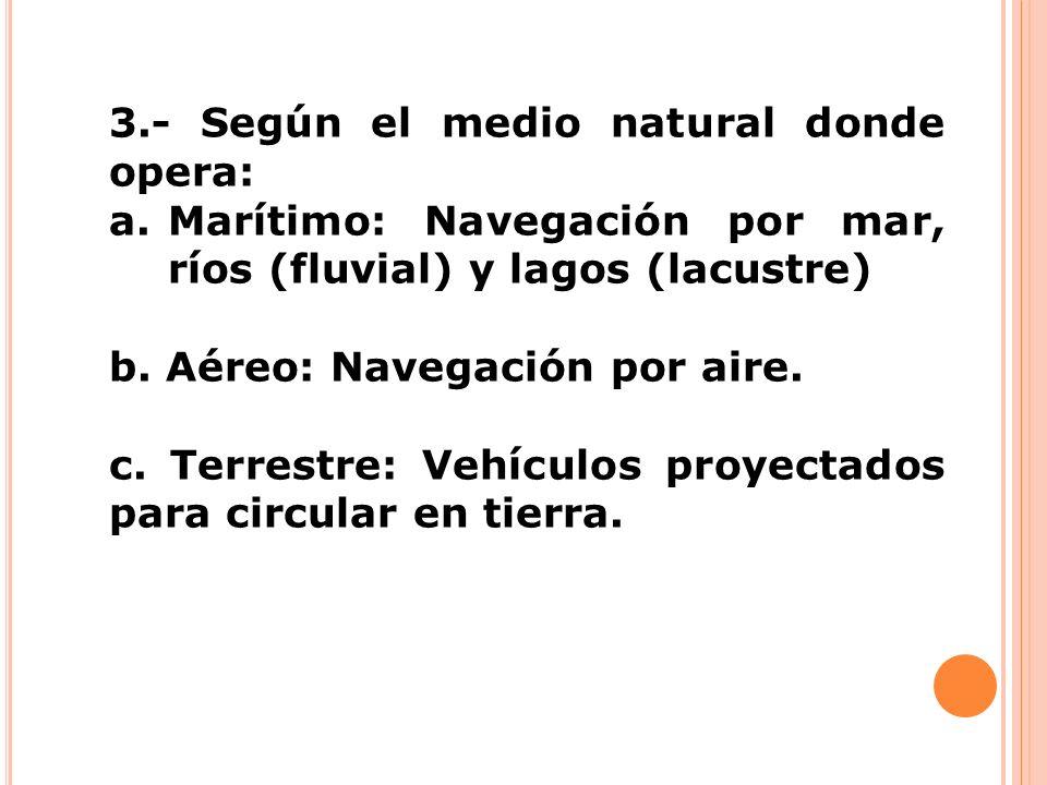 3.- Según el medio natural donde opera: a.Marítimo: Navegación por mar, ríos (fluvial) y lagos (lacustre) b. Aéreo: Navegación por aire. c. Terrestre: