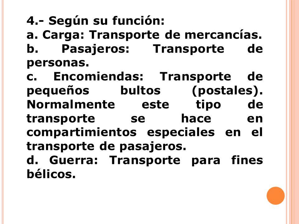4.- Según su función: a. Carga: Transporte de mercancías. b. Pasajeros: Transporte de personas. c. Encomiendas: Transporte de pequeños bultos (postale