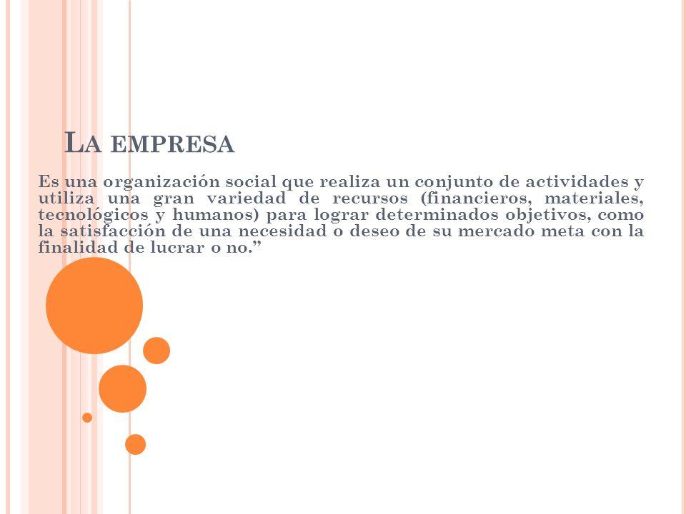 L A EMPRESA Es una organización social que realiza un conjunto de actividades y utiliza una gran variedad de recursos (financieros, materiales, tecnol